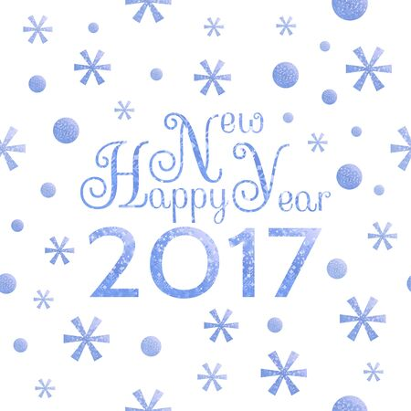 conviviality: 2017 Happy New Year background with blue symbolic snowflakes and circles and greeting  inscription Illustration