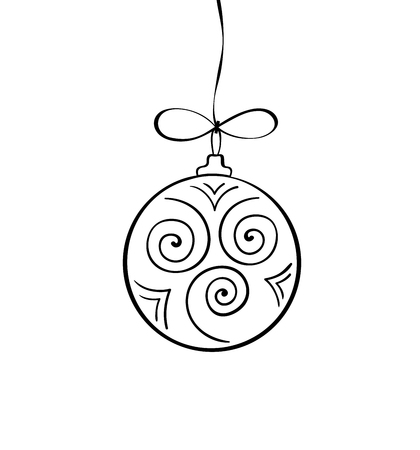 Vector Christmas doodle ball. Hand drawn Chtistmas invitation, greeting card. Holiday illustration for cover, print, web