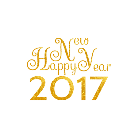 golden symbols: Beautiful design of words and symbols Happy New Year 2017 texturing golden snowflakes on a white background Illustration