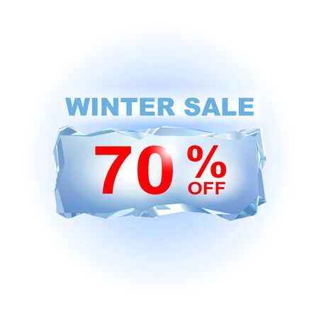 refrigerate: Icy winter sale banner to the specified percentage on a piece of ice. Vector illustration. Design element for commerce