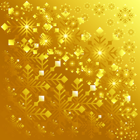 rejoicing: Golden background with lots of snowflakes. Vector illustration  Stock Photo