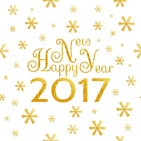 2017 Happy New Year golden background with symbolic snowflakes  and greeting  inscription
