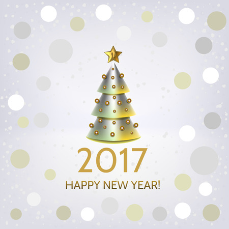 argent: New Year background with elegant metallic Christmas tree and Happy New Year 2017! inscription. Vector illustration  Stock Photo