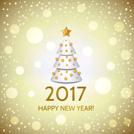 argent: New Year golden background with elegant white Christmas tree and Happy New Year 2017! inscription. Vector illustration  Stock Photo