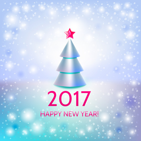 argent: New Year background with elegant metallic Christmas tree and Happy New Year 2017! inscription. Vector illustration Illustration