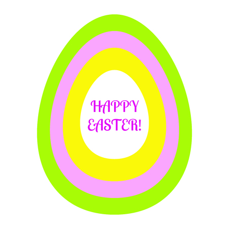 Beautiful flat easter egg from green, pink, yellow and white oval with a congratulatory inscription of happy easter.