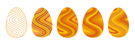 Set of flat images of Easter eggs decorated in a wavy strip of different shades of yellow.