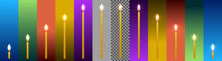 Set of church wax candles of different sizes and with different glow on a transparent background and backgrounds in different colors to illustrate the application in various designs