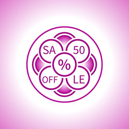 Creative sign of the sale in a pink tone made up of circles in the form of an abstract flower with an indication of the discount Illustration