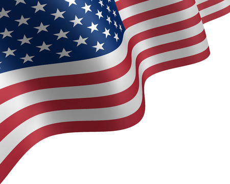 USA flag waving in the wind.  Background with waves of a flag