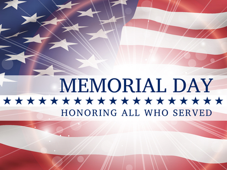 Memorial Day, honoring all who served - poster with the flag of the United States of America Illustration
