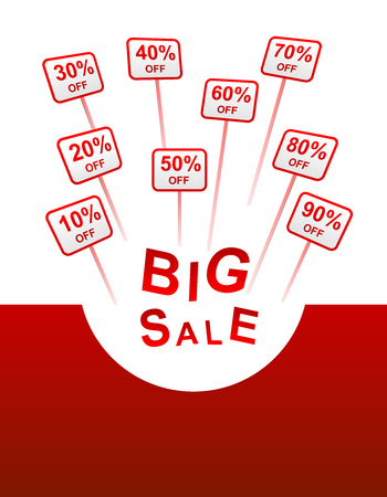 plate: big sale red background with plates with sticks indicating percent discount from 10 to 90 and the inscription BIG SALE