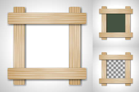 plate: Vector wooden frame of four plates on different backgrounds, including transparent. Illustration