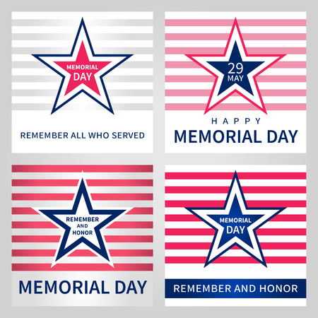 Set of the vector Memorial Day card. National american holiday illustration with USA flag elements