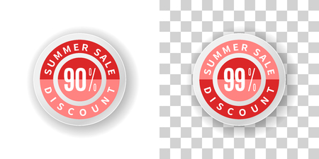 99: Template Summer Sale Sticker 90 and 99 percent discount in red color.  Round label summer sale with percent discount on white and transparent background with shadow.