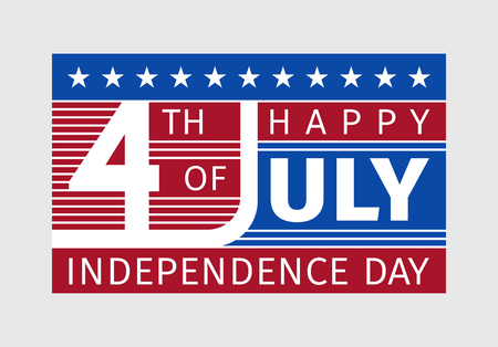 nationalism: Happy fourth of july, independence day - card with typography in the style of the United States of America