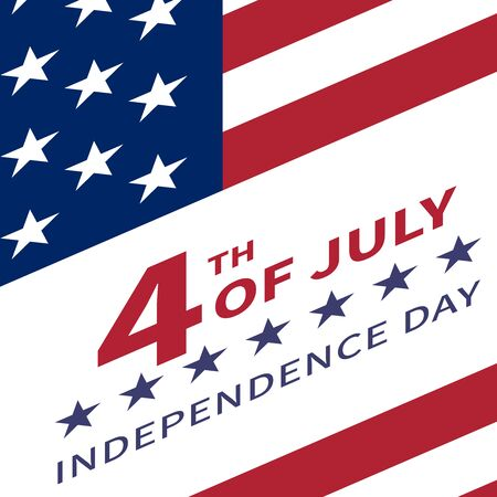 united stated: Fourth of July, United Stated independence day poster. Inscription July 4th Independence Day against the background of the US flag tilted upwards. Usable for greeting cards, banners, print
