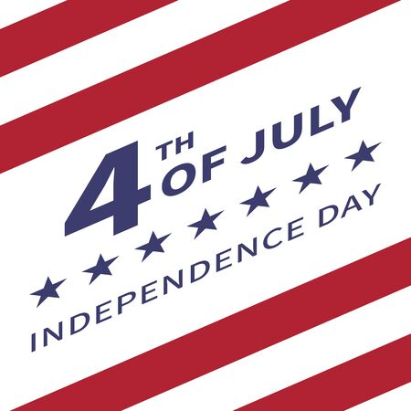 stated: Fourth of July, United Stated independence day poster. Inscription July 4th Independence Day against the background of the US flag tilted upwards. Usable for greeting cards, banners, print