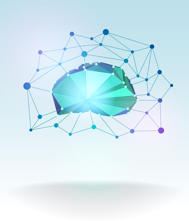 Low polygonal technological cloud in the form of a schematic image of the brain with a lattice and dots. Use in a variety of illustrations and designs