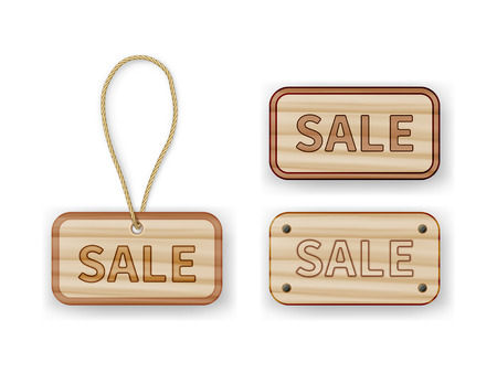 pin board: Wooden labels with sale inscription. Variants with rope and screws. Tables isolated on white background with shadow