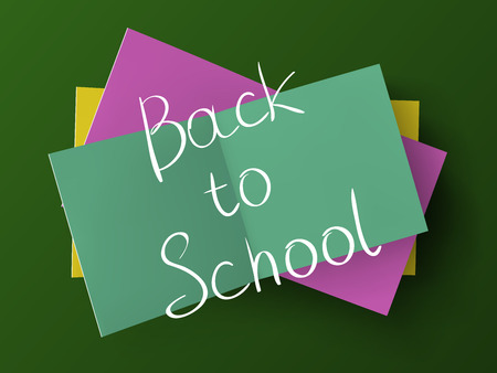 Back to school inscription above a stack of open stickers on a green board background. Vector illustration