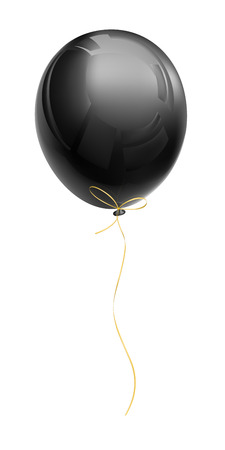 Realistic black air balloon with a golden ribbon isolated on a white background. Vector illustration Illustration