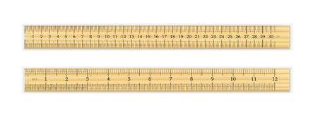 현실적인 목조 눈금자 30cm 및 흰색 배경에 고립 된 그림자와 12 인치. 측정 도구. 학용품. 벡터 일러스트 레이 션 일러스트