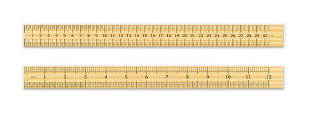 Realistic wooden ruler 30 cm and 12 inches with shadow isolated on white background. Measuring tool. School supplies. Vector illustration  Ilustração