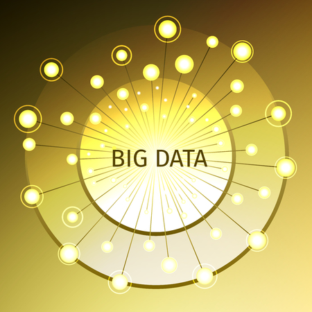 Big data illustration with rays, flashes and gold disc of the technological concept.