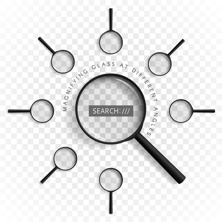 examine: Magnifiers with different angles with a shadow located along a circle on a transparent background