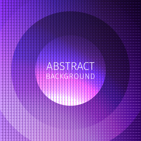 Purple abstract background of many squares with superimposed circles and an inscription