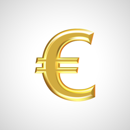 Golden euro sign  symbol isolated on white background. Realistic vector illustration