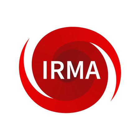 Grafisch symbool van orkaan Irma. Icoon, bord, aanduiding van de orkaan, vortex, tornado