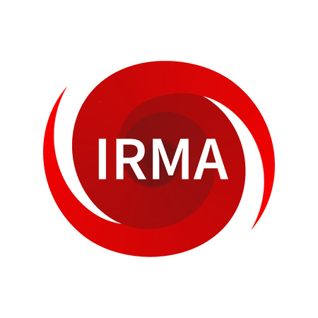Graphic symbol of hurricane Irma. Icon, sign, indication of the hurricane, vortex, tornado Illustration