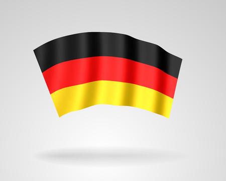 3d pictogram van de nationale vlag van de Bondsrepubliek Duitsland die in de wind met schaduw golven