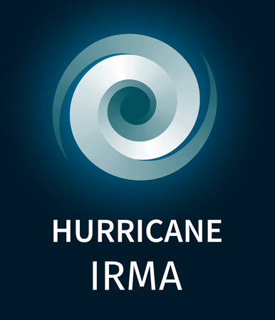 Graphic banner of hurricane Irma. Icon  sign  symbol of the hurricane, vortex, tornado Illustration