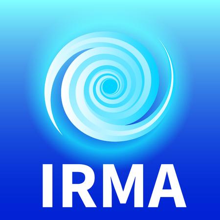 Grafische banner van orkaan Irma. Pictogram  teken  symbool van de orkaan, draaikolk, tornado