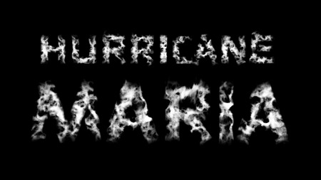 Hurricane Maria. Inscription from white cloud letters on black background. 3d render. Can be used as a mask in an alpha channel  matte