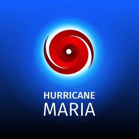 Grafische banner van orkaan Maria. Icoon / teken / symbool van de Hurricane