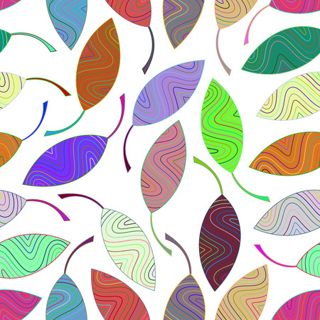 Seamless pattern from multi-colored striped leaves. Seamlessly texture for the design of packaging, textiles, wrappers, coloring, wallpaper etc. Illustration