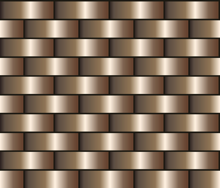 Bronze seamless background in the form of a brick wall, chain mail. Bronze gradient pattern Illustration