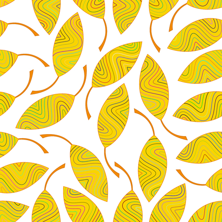 Seamless pattern of yellow striped leaves. Seamlessly texture for the design of packaging, textiles, wrappers, coloring, wallpaper etc.
