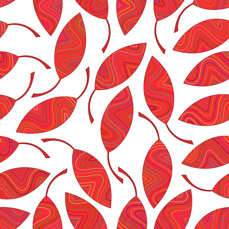 Seamless pattern of red striped leaves. Seamlessly texture for the design of packaging, textiles, wrappers, coloring, wallpaper etc. Illustration