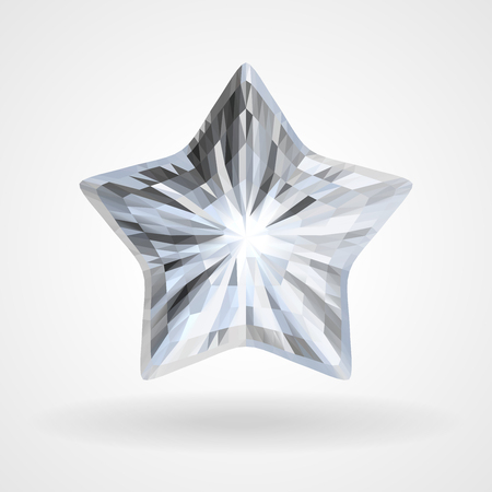 Diamond Five Pointed Star. Brilliant five beam, ray star. Vector Triangular Template Object Illustration