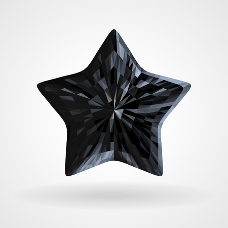 Black Diamond Five Pointed Star. Dark Brilliant five beam, ray star. Vector Triangular Template Object Illustration