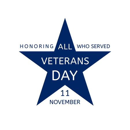 11 November, Veterans Day, Honoring All Who Served -  emblem in the form of a blue star. Illustration