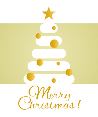 Congratulations on Christmas. Stylized Christmas tree. Merry Christmas greeting card design template. Holidays brochure or flyer