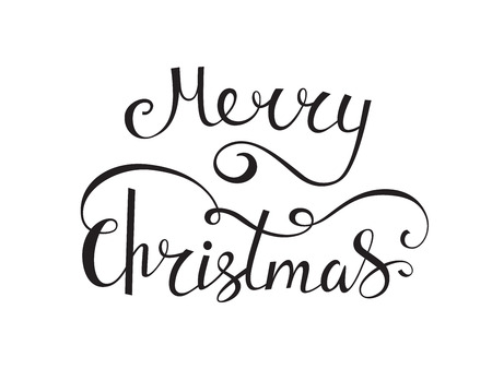 Merry Christmas vector text calligraphic lettering design. Creative typography for holiday greeting card. Calligraphy font banner  일러스트