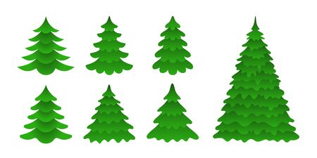 Set of Christmas trees in a flat style. Symbolic firs isolated on white background. Vector Icons
