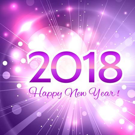 Beautiful pink Christmas background with a bright flash of light and the words Happy New Year 2018!